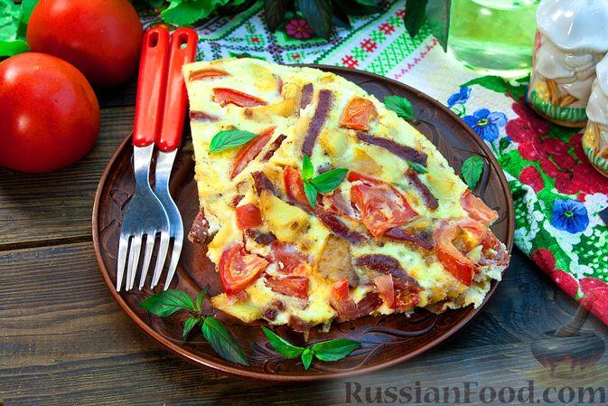 Картофельная тортилья с помидорами и колбасой (на сковороде, в духовке)