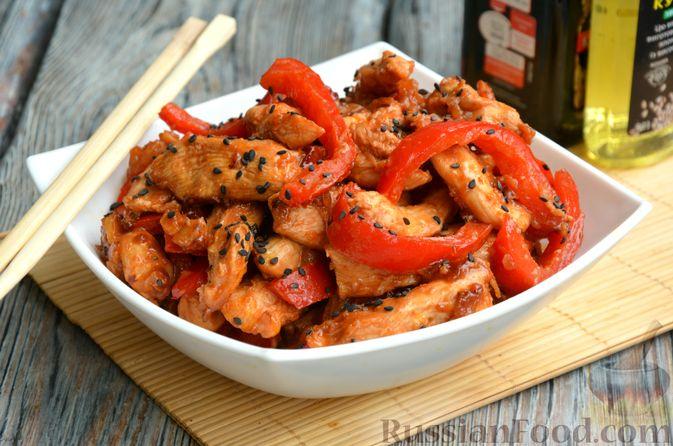 Куриное филе с болгарским перцем в кисло-сладком соусе