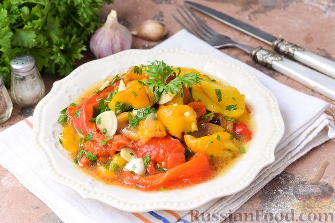 Запечённый болгарский перец с чесноком и зеленью